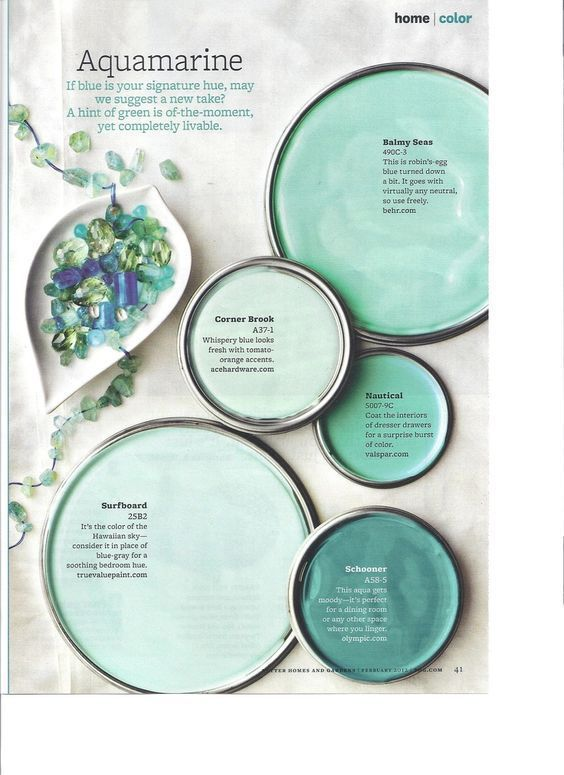 Blue paint colors - gorgeous shades of aqua, teal and sea-green blue! Paint the walls in your home with these colors to get a relaxed, coastal, spa like feeling to your spaces. This popular pin is one to check out if you're searching for that perfect blue paint color!