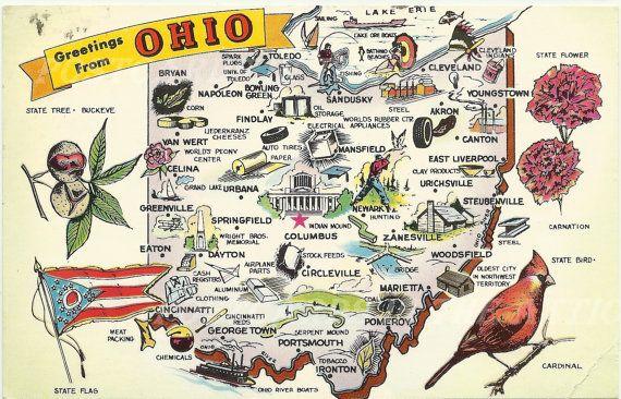 Vintage Postcard Map of Ohio - Souvenir - 1960's http://www.cavendishsq.com/