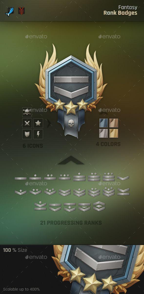 Fantasy Rank Badges - Miscellaneous Game Assets | Download: https://graphicriver.net/item/fantasy-rank-badges/19204554?ref=sinzo