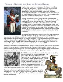 This fun and informational project has students read a 2 page biography of the Haitian revolutionary leader Toussaint Louverture and then create a comic book based on his life. This makes for an excellent change up on traditional readings and questions and is fun for students that enjoy art and drawing!