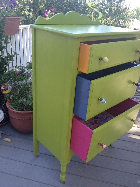 Zoey, Upcycled chest of drawers hand painted green, with fabric lined drawers on Etsy, $395.00