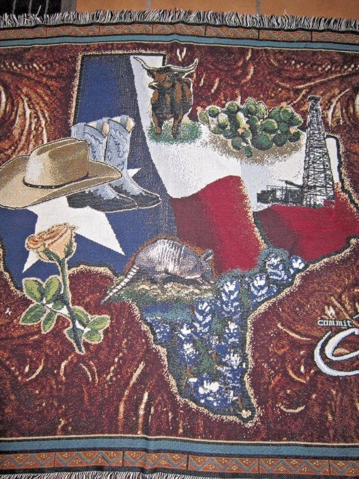 CFL Commit For Life Blood Donor State of Texas Afghan Tapestry Blanket Throw