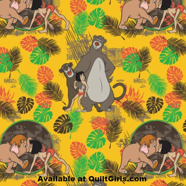 The Jungle Book Party Animals on Gold Fabric to sew