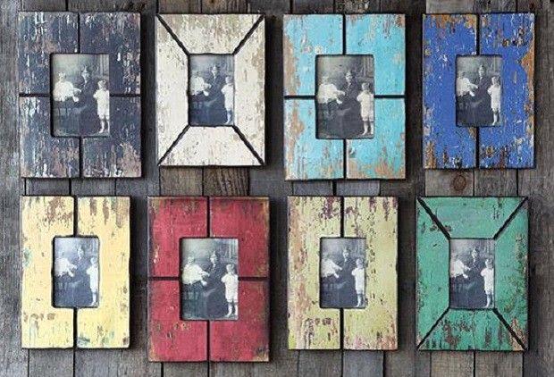Distressed Wood Finish Picture Frames, Set of 8 - From Antiquefarmhouse.com - http://www.antiquefarmhouse.com/current-sale-events/country-kitchen-decor/distressed-wood-picture-frames-set.html
