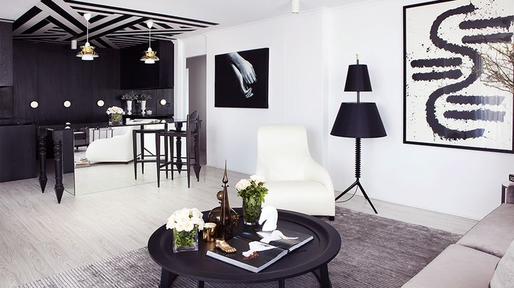 70's Apartment Gets a Bold Black and White Makeover // Two-tiered lamp and painted ceilingJames Of Arci, Interior Design, Black And White, Living Room, Interiors Design, Black White, Dawson Interiors, Australian Interiors, James Dawson