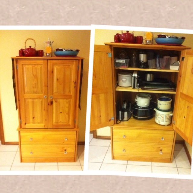 Delightful We Took An Old Tv Armoire And Converted It To An Appliance Storage Cabinet  By Adding