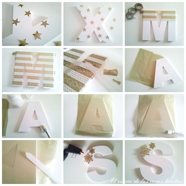 letras de madera pintadas de dorado - Buscar con Google