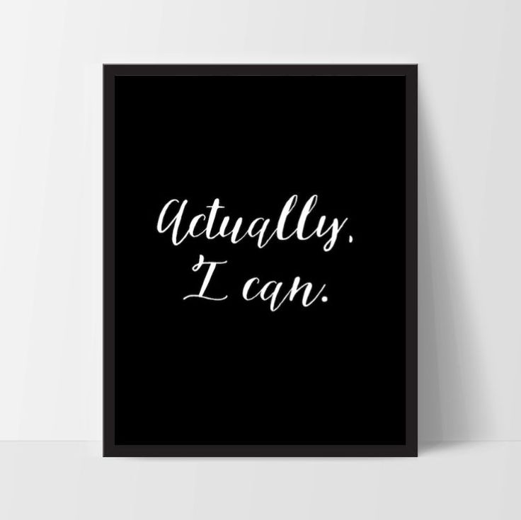 """Motivational Quote Poster """"Actually, I Can"""" Home Office Dorm Decor"""