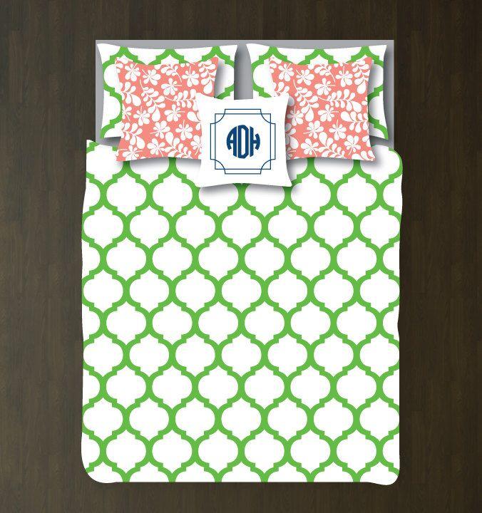Custom Preppy Quatrefoil Bedding Set-Duvet Cover-Shams-Light Green-White-Twin, Full/Queen, King-Bedding-Bedroom-Bed-Kids Room-Girl-Dorm Room by GatheredNestDesigns on Etsy https://www.etsy.com/listing/197869697/custom-preppy-quatrefoil-bedding-set