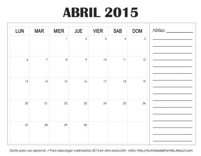 Descarga e imprime gratis: Calendarios 2015 con espacio para notas: Calendario Abril 2015