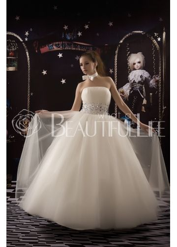 $199.99  Dream Bridal Strapless Satin And Tulle #Ball #Gown #Wedding #Dress With Beading Sash
