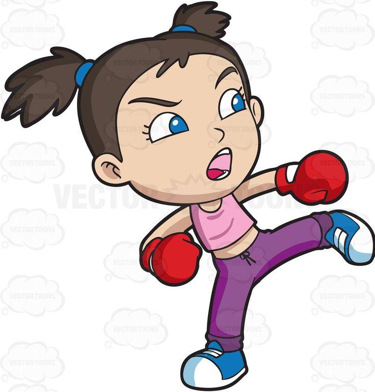 A girl during a kickboxing training #cartoon #clipart #vector #vectortoons #stockimage #stockart #art