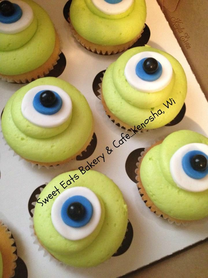 monsters inc mike wazowski cupcakes. sweet eats bakery & cafe...kenosha, wi  http://www.sweeteatstraditions.com/