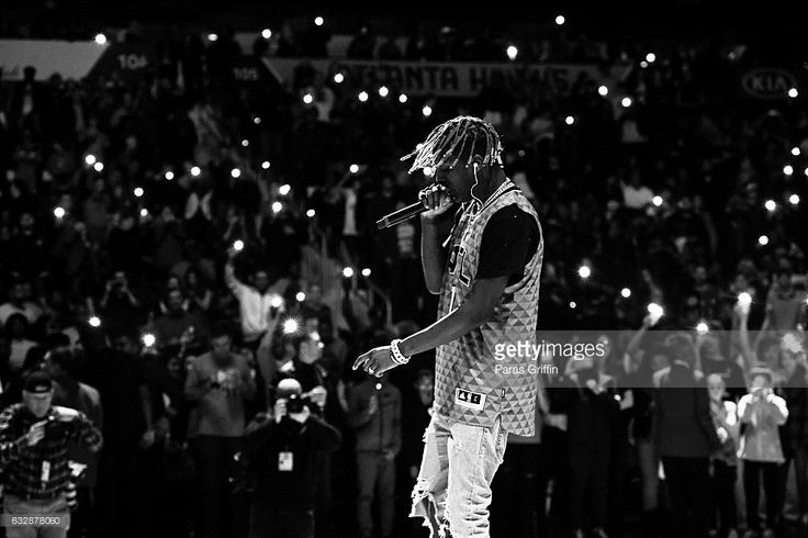 Rapper Lil Yachty performs at halftime during The Washington Wizards VS Atlanta Hawks Game at Philips Arena on January 27, 2017 in Atlanta, Georgia.