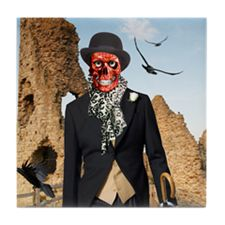 British Skull Model Tile Coaster
