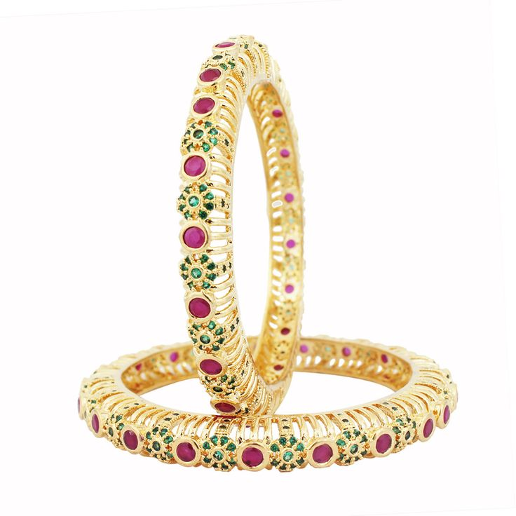 SthriElite Gold Plated Ruby Emerald Stone Bangle BAN-RE-013-105