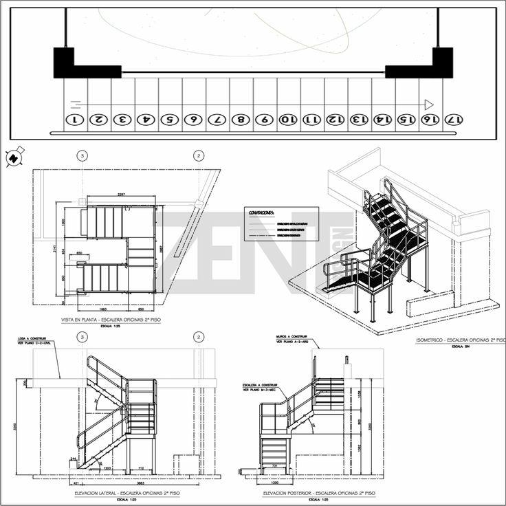 M s de 25 ideas incre bles sobre escaleras metalicas en for Escaleras metalicas planos