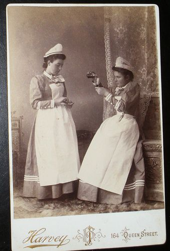 Nurses Pouring Medicine - An antique cabinet photo from the Victorian age