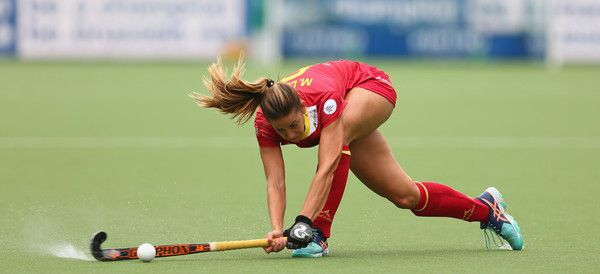 Maria Lopez of Spain shoots during the Fintro Hockey World League 5/8 place playoff game between Spain and Italy on July 1, 2017 in Brussels, Belgium.