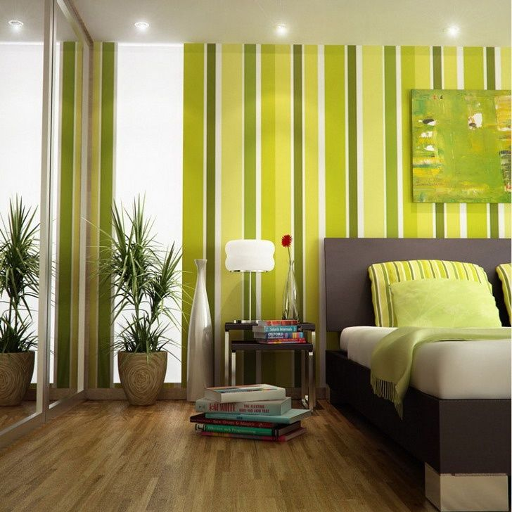 Green Bedroom Color Scheme Minimalist Interior Design (zen, balanced, calming, relaxing, minimalistic, clean, amazing, home decor, ideas, inspiration, room, space, interesting, bed, side table, striped wall)