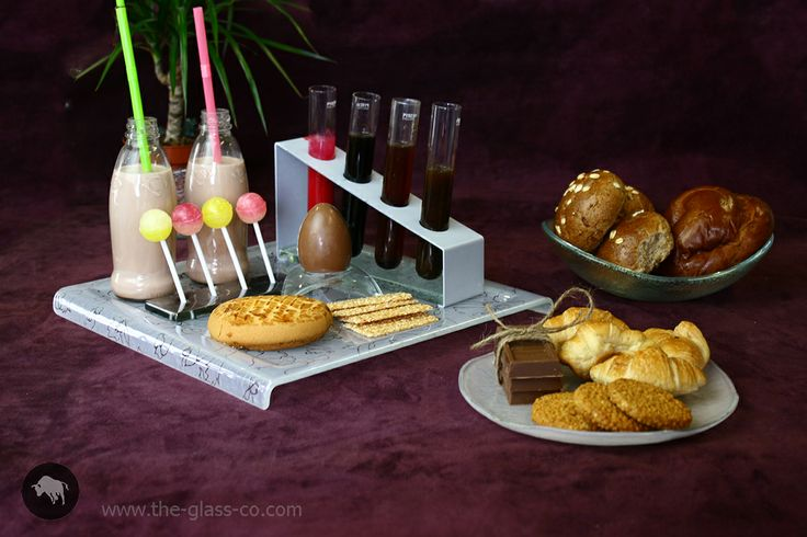 Modern breakfast setup with glass tray, contiments stand,  skewer stand by Glass Studio www.the-glass-co.com