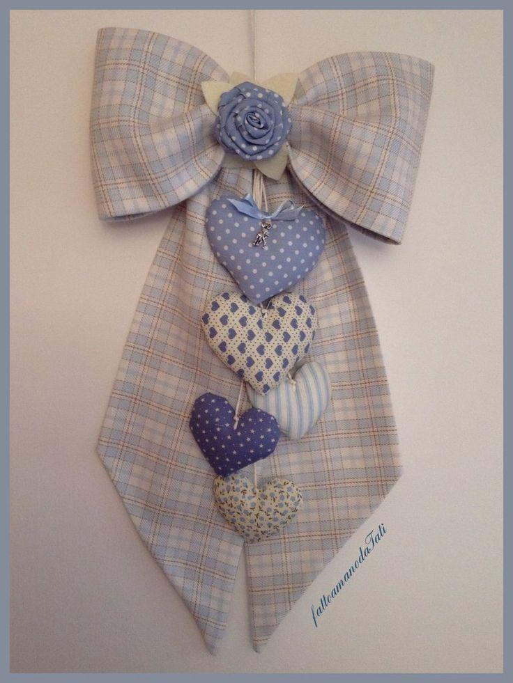 Fiocco nascita in cotone a quadri scozzesi azzurri e beige con cuori , by fattoamanodaTati, 30,00 € su misshobby.com