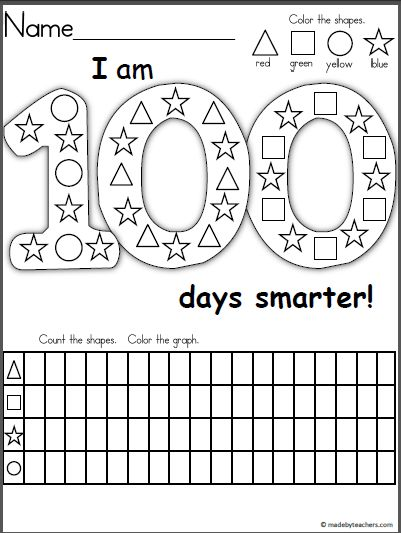 Free graphing and shape recognition activity for the 100th day of school. This is a wonderful activity for Kindergarten and 1st grade students. Children color the shapes, then they complete the gra…