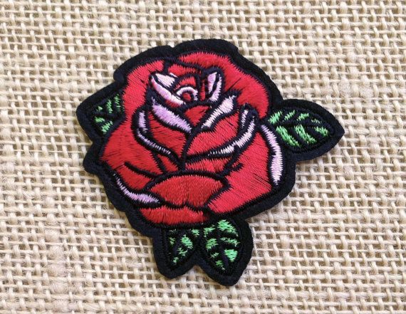 Rose Patches. Iron On Patch for Jackets and Backpacks. Red