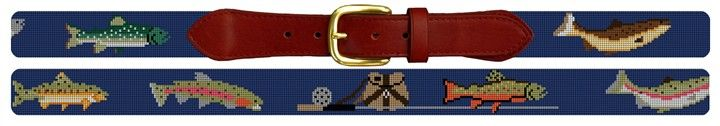 Trout Fishing Needlepoint Belt Canvas | NeedlePaint