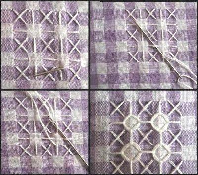 T R I C O L L A G E...: Bordado em tecido Xadrez