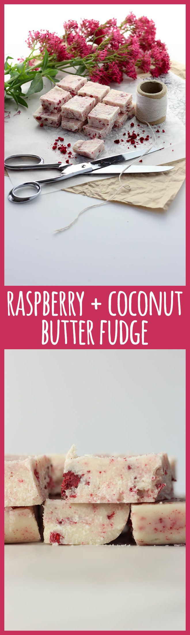 This pretty coconut butter fudge with freeze dried raspberries flecked through it is allergy friendly and a healthier sweet treat or edible gift for people who are trying to limit their sugar intake. #vegan #vegetarian #dairyfree #glutenfree #refinedsugarfree #paleo #lchf #fudge #raspberry #raspberries #coconut #coconutbutter #edible #gift #ediblegift #healthy #plantbased #realfood #recipes