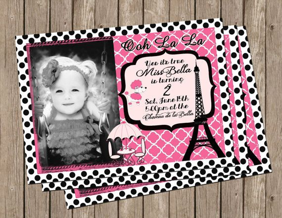 Paris Themed Party, Invitation, Pink and Black ,Girl, Eifel Tower ,Digital File on Etsy, $15.00