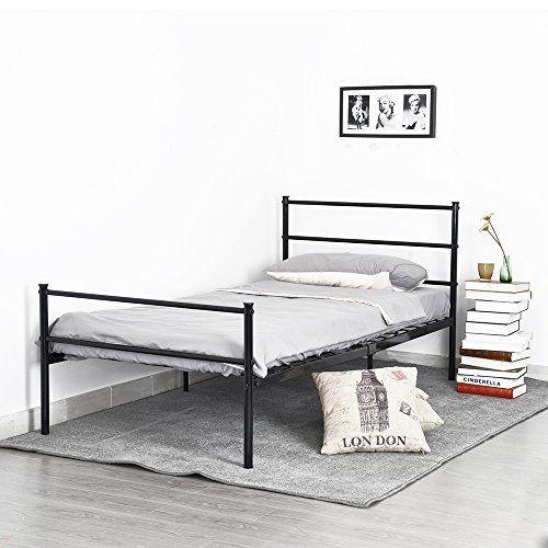 Metal Bed Frame Twin Size, GreenForest Two Headboards 6 Legs Mattress Foundation Black Platform Bed Frame Box Spring Replacement for Boys Kids Adult Bedroom //http://bestadjustablebed.us/product/metal-bed-frame-twin-size-greenforest-two-headboards-6-legs-mattress-foundation-black-platform-bed-frame-box-spring-replacement-for-boys-kids-adult-bedroom/