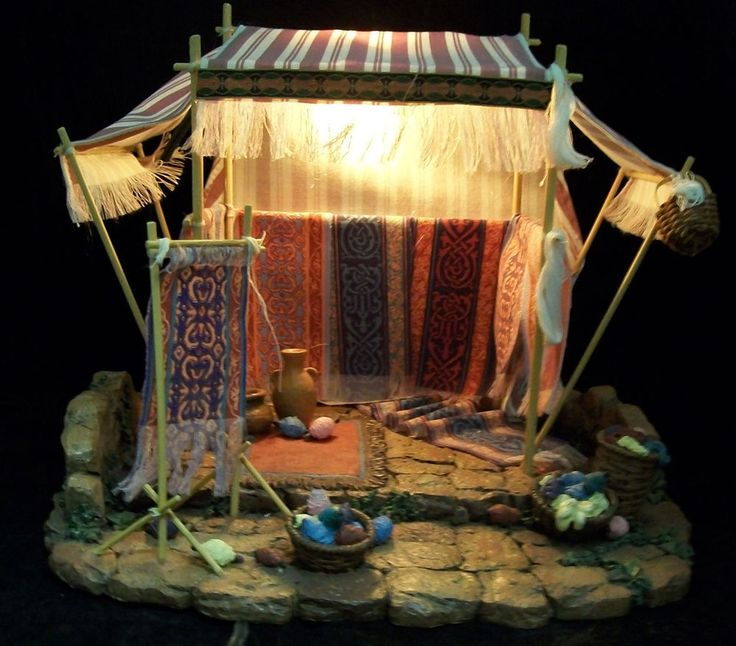 "FONTANINI NATIVITY VILLAGE Weaver's  Shop #50221 5"" Figures in Orig Box Lights"