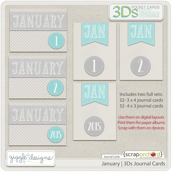 Free January 3D Journal Cards {Use the for digital pages, print the for paper albums or scrap with them on devices}