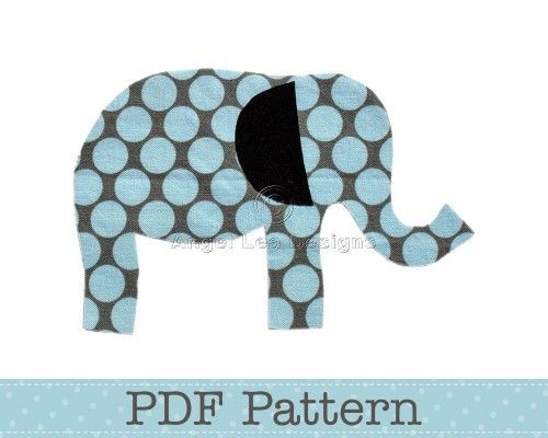 elephant baby quilt pattern | Elephant Applique Pattern, PDF Template Applique Designs Baby Boy Girl