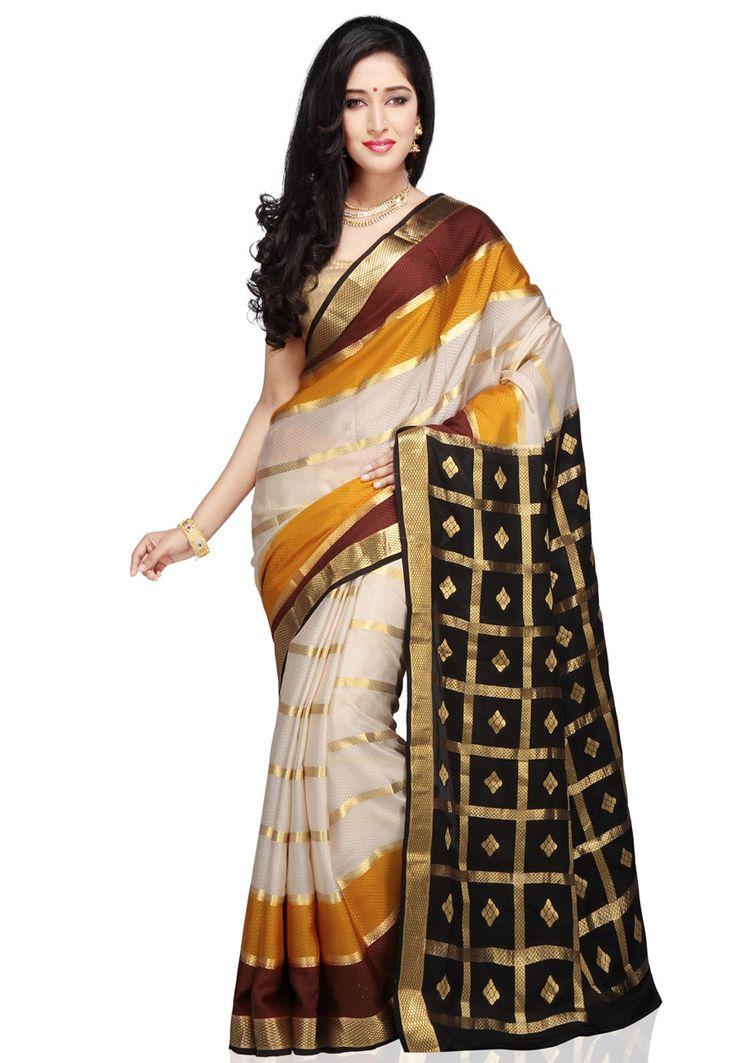 Off White, Ochre and Black Pure Mysore Silk Saree with Blouse: STC307