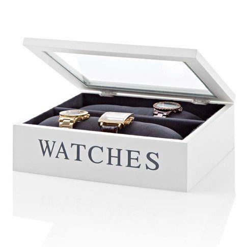 """Weiß lackiert, mit Glasdeckel sowie Aufdruck """"Watches"""" und Samtfutter in Anthrazit: Uhrenbox mit zwei Fächern."""