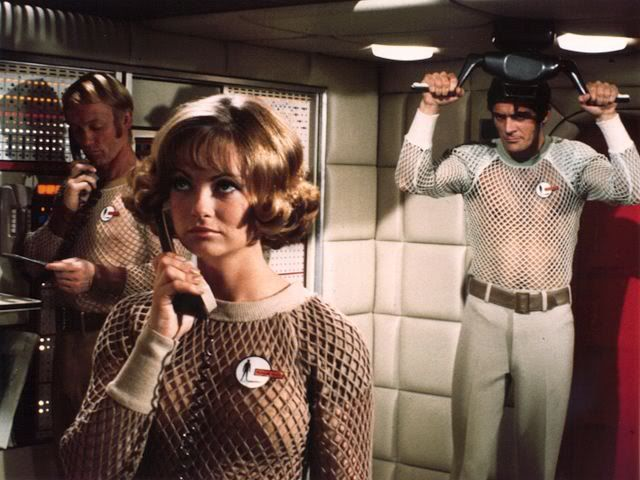Skydiver crew from UFO TV series - Gerry Anderson. From left to right: Gordon Maxwell, Silvia Howell and Captain Lew Waterman!