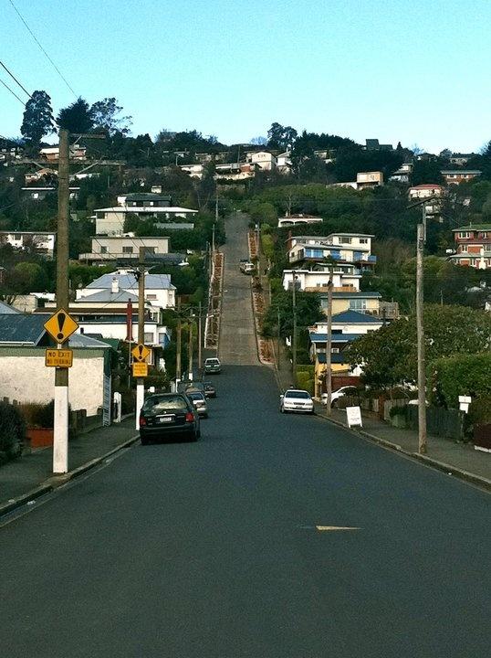 Steepest street in the world (Baldwin St.), Dunedin, New Zealand