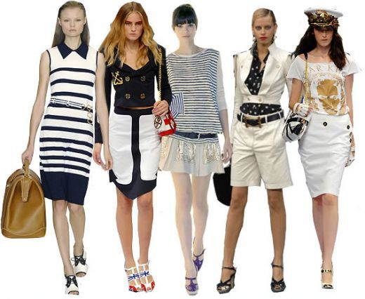 Nautical fashion will be one of the hottest trends for this summer! Nautical trends looks crisp, clean, classy and elegant. It's tres difficult to go wrong with this one! The classic, clean lines look fabulous on many silhouettes and is a great look for warm weather anywhere.