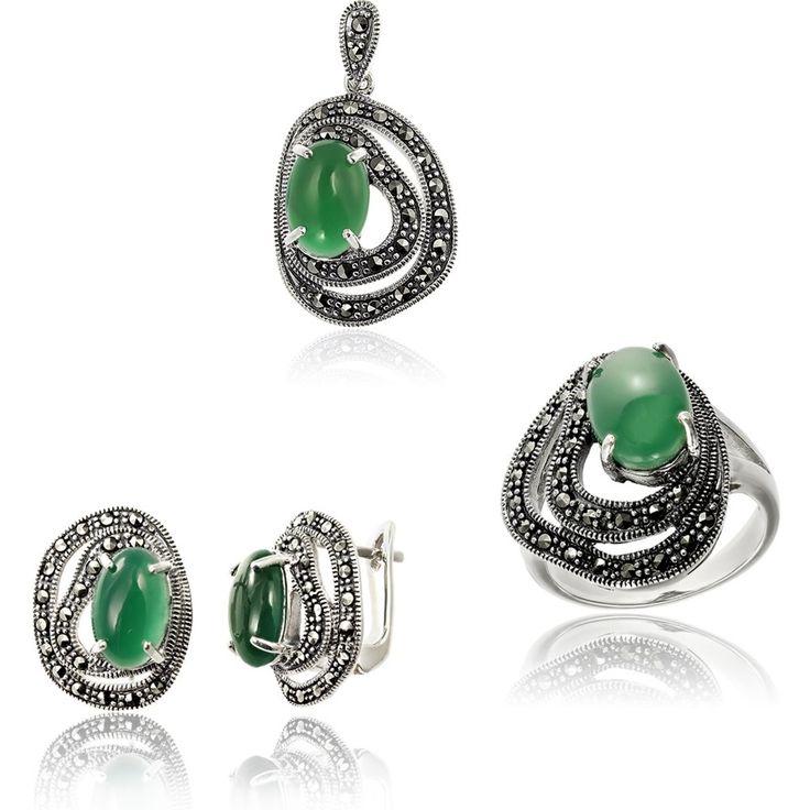 Set argint Agat Verde inconjurat de marcasite Cod TRSS054 Check more at https://www.corelle.ro/produse/bijuterii/seturi-argint/set-argint-agat-inconjurat-de-marcasite-cod-trss054/