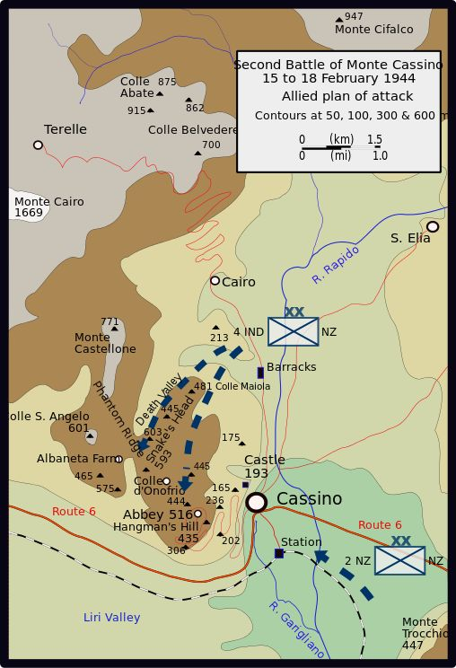 Second Battle of Monte Cassino: 15 - 18 February 1944. Plan of attack
