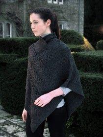 Aran Merino Wool Poncho SH4272