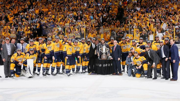 Nashville, TN - May 22: The Nashville Predators celebrate with the Clarence S. Campbell Bowl after defeating the Anaheim Ducks 6 to 3 in Game Six of the Western Conference Final during the 2017 Stanley Cup Playoffs at Bridgestone Arena on May 22, 2017 in Nashville, Tennessee.