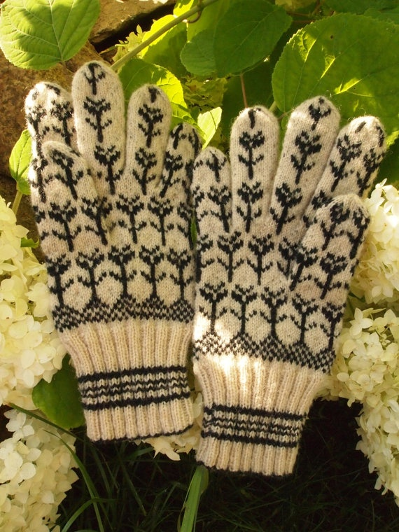 Finely Hand Knitted Seto Estonian gloves FREE by NordicMittens, $116.00