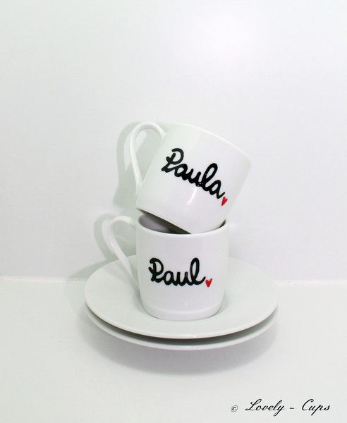 Espressotassen-Set Tasse mit Name ESPRESSO Set von Lovely-Cups   auf DaWanda.com