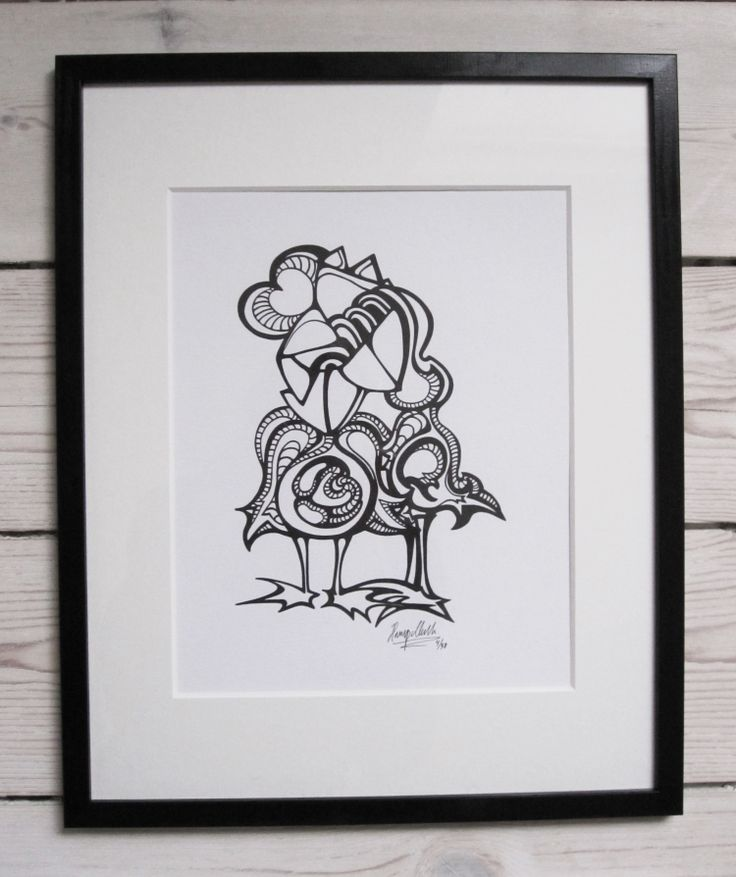 """""""Lovebirds"""" by hurupmunch Printed illustration on akvarel paper A4: Dkk 150,- Printed illustration in passepartout and painted wood frame: Dkk 350,-"""