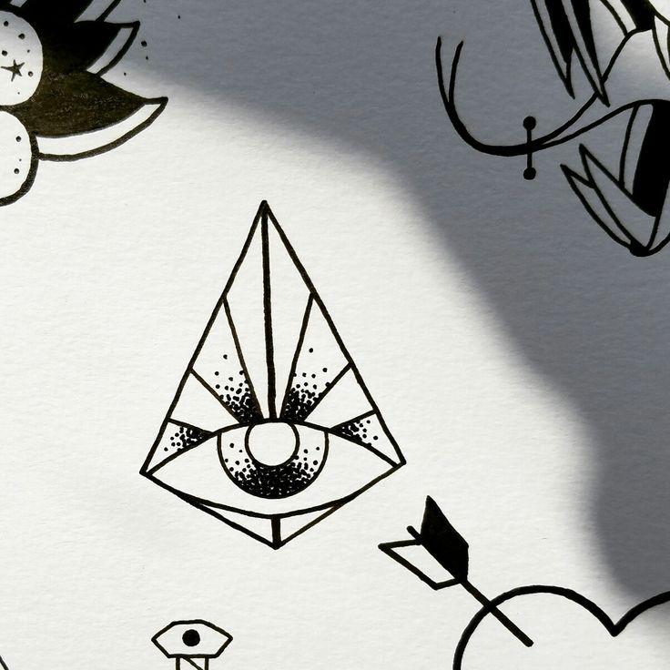 stipling pyramid third eye minimal tattoo design by nico di pisarro