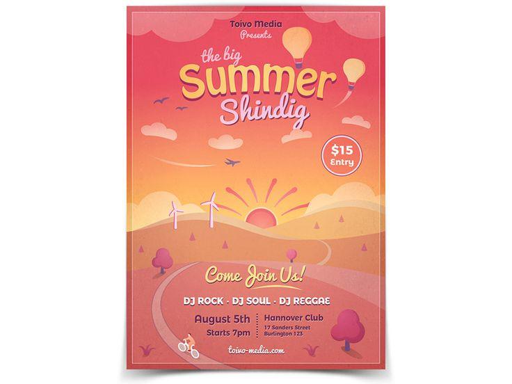 Summer Sunset Flyer Template - buy it here: https://graphicriver.net/item/summer-sunset-flyer/19842239